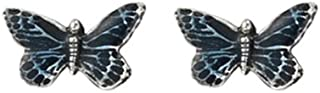 product image for DANFORTH Butterfly/Blue Mini Post Earrings - Pewter - 3/8 Inch - Handcrafted - Made in USA