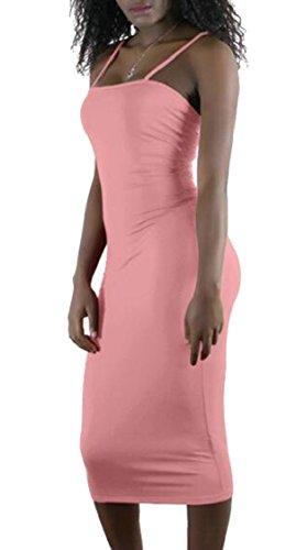 Jaycargogo Sexy Des Femmes De Fines Bretelles Couleur Pure Paquet Mince Hanche Rose Robe Longue