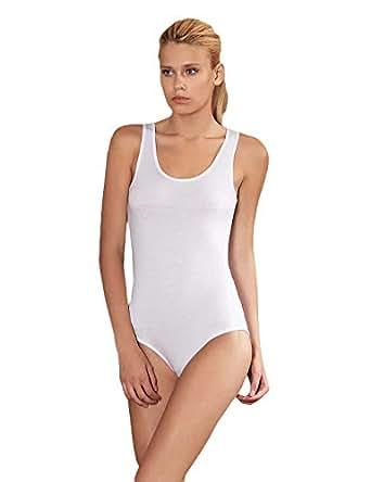 Sahinler Snap U Neck Strapped Bodysuit For Women, White 8690216325961 M