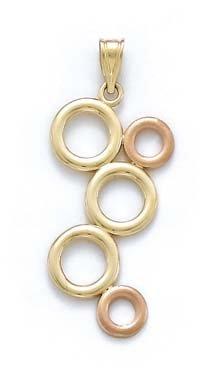 14 carats-Bicolore-JewelryWeb pendentif en forme de cercles