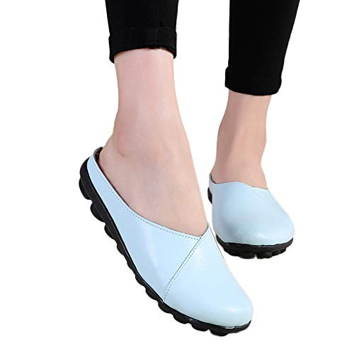 ▶HebeTop◄ Women's Rubber Sole Breathable Natural Walking Flat Loafer, Soft Bottom Shoes Sky Blue