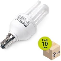HALOTEC Pack 10 Bombillas Bajo Consumo CFL Mini rosca pequeña casquillo E14 230V 13W 4000 K color blanco neutro. Larga vida: Amazon.es: Iluminación