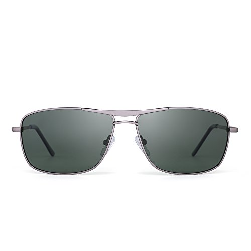 Polarized Rectangle Sunglasses Driving Lightweight Spring Hinge Frame Men Women (Light Gunmetal / - Glasses Sun Discount