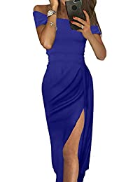 a604f4b3d4c Women Off Shoulder Ruched Metallic Knit High Slit Evening Party Cocktail  Dress