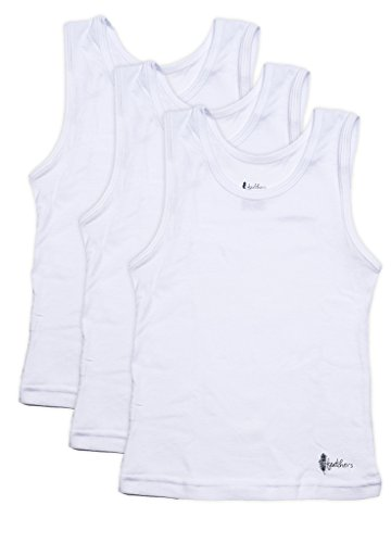 Feathers Boys White Tank 100% Cotton Super Soft Tagless Undershirts 3-Pack, Solid White, 8 (Boys White Tank)