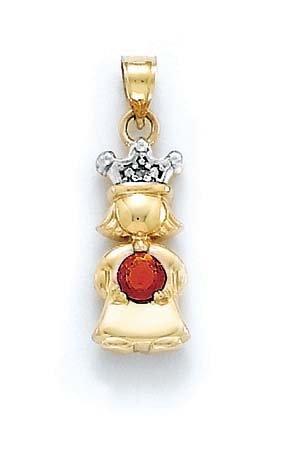 Brut 14 carats avec diamant et grenat rouge taille princesse-Pendentif Pierre JewelryWeb 1 cm