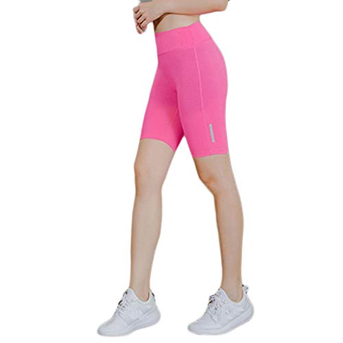 Women Short Leggings, Power Flex Yoga Short Tummy Control Workout Running Athletic Non See-Through Yoga Shorts (M, Hot Pink)