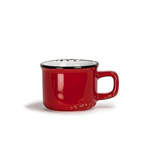 Abbott Collection Enamel Look Stoneware Espresso Cup, Red