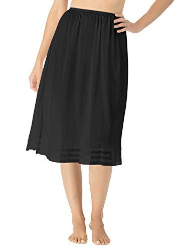 (Comfort Choice Women's Plus Size Snip-to-Fit Half Slip - Black, 26/28 )