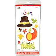 4 Dies Sizzlits (Sizzix Sizzlits Fall Set-4 Dies-thanksgiving, Leaves, Pilgrim Hat)