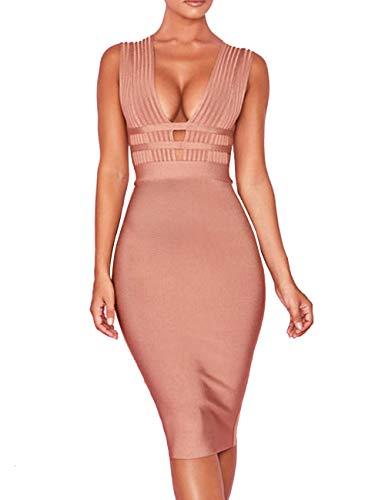 Cheap Fancy Dress Shops (UONBOX Women's Sleeveless Deep Plunge V Neck Night Club Party Bandage Dress with Waist)