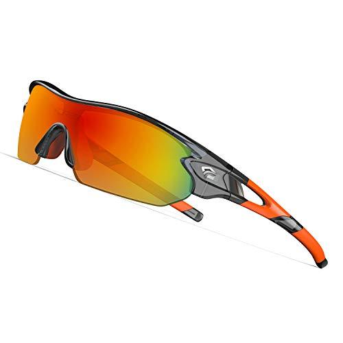 TOREGE Tr90 Flexible Kids Sports Sunglasses Polarized Glasses for Junior Boys Girls Age 3-12 TR04 (Transparent Gray&Orange&Red Lens)