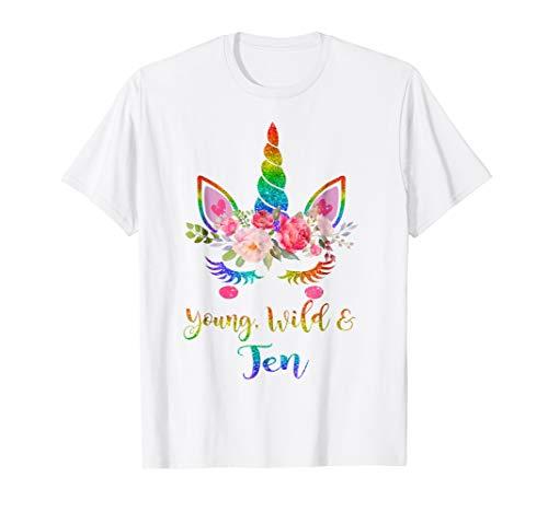 Cute Unicorn Girl 10th Birthday Tshirt | Young, Wild & -