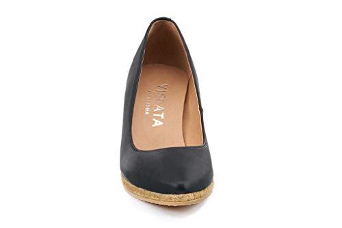 VISCATA Handmade in Spain Roses Leather 2.75-inch Elegant Style, Slip-on Wedge Pump, Espadrilles Heel