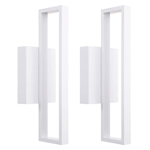 LEONLITE 12W LED Square Wall Sconce, Indoor Modern Wall Lights, 600lm Surface Mounted LED Wall Lamp, Room Decor for Office, Living Room, Bedroom, Hallway, Corridor, Pack of 2 ()