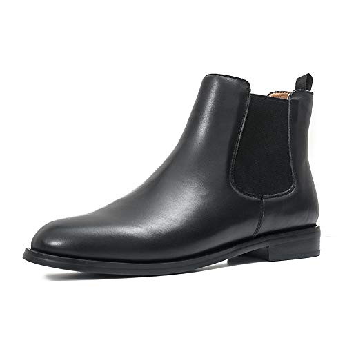 Chelsea Beatle Boots (ONEENO Women's Classic Black Leather Chelsea Boots 10 M)