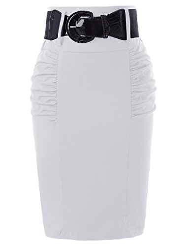 Office Style Pencil SKirts 1950s Vintage Retro Knee Length SKirts White L KK271-5