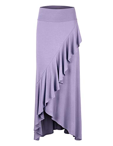 LL Womens Wrapped High Low Ruffle Maxi Skirt L Lilac
