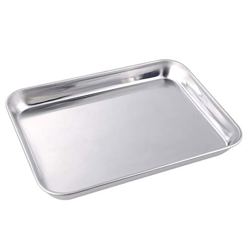 Cookie Baking Sheet 1 Pieces, Stainless Steel Non-Toxic Non-Stick & Healthy Cookie Baking Pan Mirror Finish, Rustproof and Easy Cleaning (1pcs 15.75x11.81x0.98 inch) by Howrey