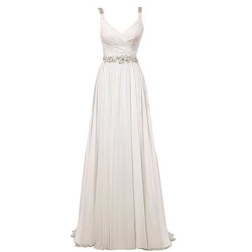 Mylilac Women's V Neck Shoulder Straps Soft Ruching Chiffon Wedding Gown