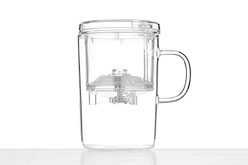 Glass Tea Brewing Cup with Plastic Infuser Lid Teacup Mug Modern Chinese Teaware (Clear)
