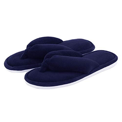 Indoor SoleCoral Home Slip 5Navy Women Anti Size 6 Us Onmygogo Slippers With Flopss 5 Fleece 5 For Rubber Flip 2IED9H