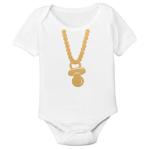 The Spunky Stork Gold Chain Pacifier Organic Cotton Baby Bodysuit (3-6M)