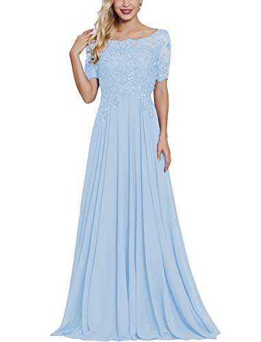 Petite Mother of The Bride Dresses with Short Sleeves Long Maxi Formal Evening Party Gown for Women Light Sky Blue