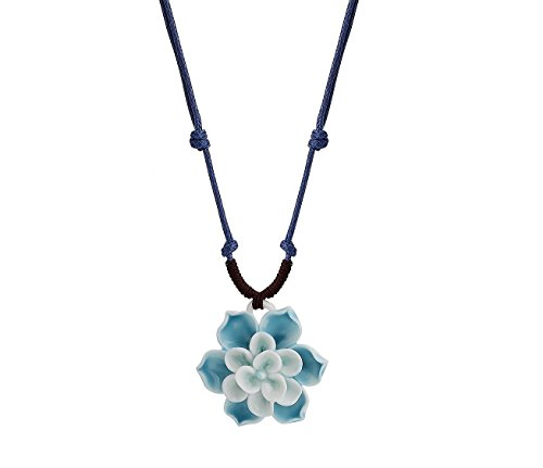 Nuwastone Handmade Porcelain Ceramics Crafts Lotus Flower Necklace (Blue flower)