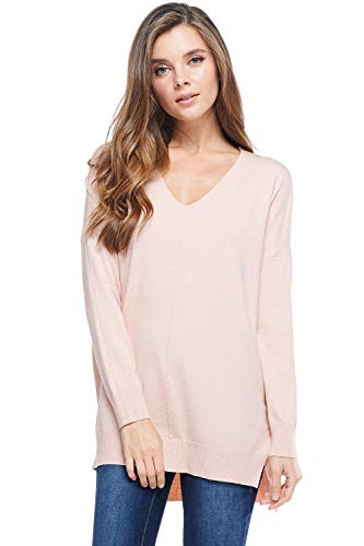 A+D Womens Oversized V-Neck Pullover Sweater Top W/Slight Hi-Low (Pink, Medium/Large)