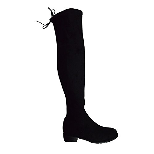 Katilyn Pan Kaitlyn Pan Women's Microsuede Flat Heel Over The Knee Thigh High Boots (37.5 CN/7 US/37 EU, Black)