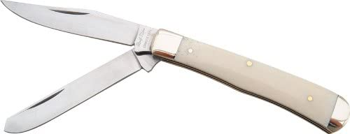Rough Rider Trapper Fold Knife, White smooth bone handle