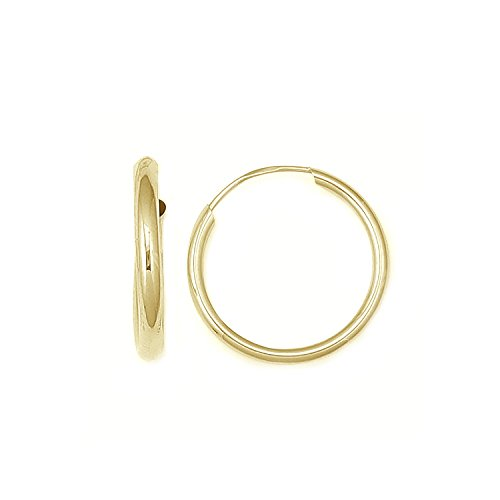 14k Yellow Gold Childrens Hoop (Children's 14K Yellow Gold Hoops Endless Baby Hoop Earrings 10 Mm)