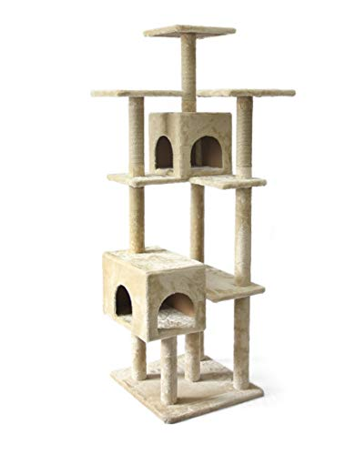 AmazonBasics Large Cat Condo Tree Tower with Dual Caves And Scratching Post - 25 x 29 x 70 Inches, Beige (Cat Clearance Condos)