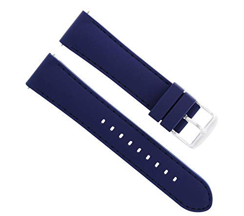 Ewatchparts 22MM Soft Rubber Diver Band Strap for Croton Blue BLS6P
