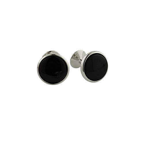 (David Donahue Men's Silver Plated Brass Black Onyx Cufflinks (CL109300))