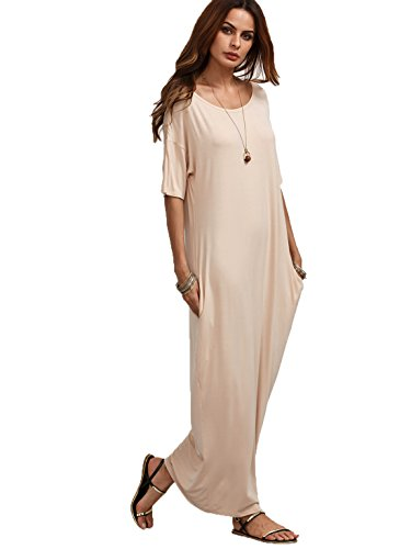 Verdusa Women's Summer Casual Loose Long Dress Short Sleeve Pocket Maxi Dress Dark Apricot L