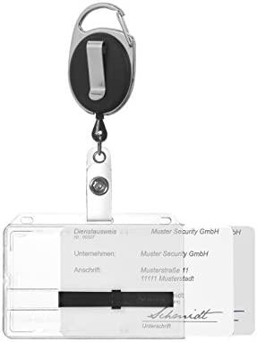 Karteo® Funda para tarjeta y funda protectora para 2 tarjetas + 2 elementos correderos negro con portacredencial tipo yoyo negro que incluye mosquetón ...