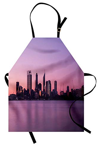 Lunarable Australia Apron, Dawn Twilight Cityscape in Perth Purple Tones Sky Buildings and Skyscrapers, Unisex Kitchen Bib Apron with Adjustable Neck for Cooking Baking Gardening, -