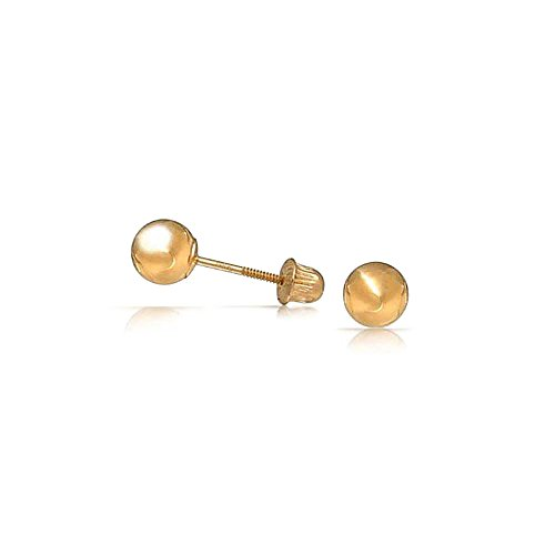 Bling Jewelry 14K Yellow Gold Hollow Center Baby Ball Studs Screw Back 3mm (Baby Gold Stud)