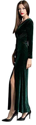 Side Women's Formal Ababalaya Retro 90s Slit Bodycon Velvet Green Gown Long Evening nYHwqHrd8Z