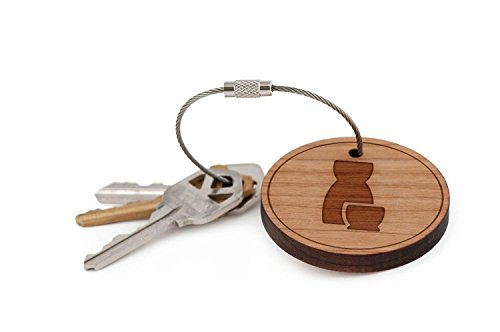 Sake Carafe Keychain, Wood Twist Cable Keychain - Large