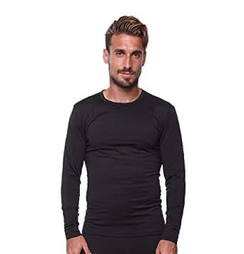 Men's Thermal Top Lightweight Ultra Soft Fleece,Base Layer, Small-Black