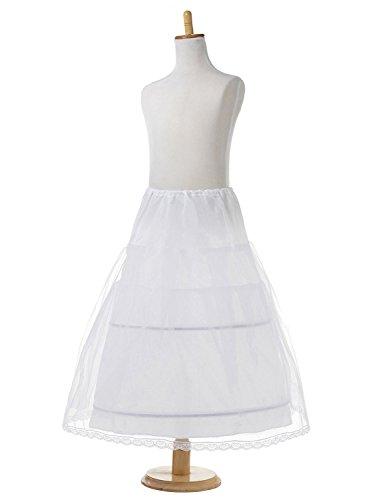 Monalia Girls 2 Hoop Flower Girl Crinoline Wedding Petticoat Underskirt MPC10 White by Monalia
