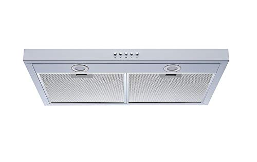 "Winflo 30"" 350 CFM Convertible Under Cabinet Range Hood in White with Mesh Filters and Push Buttons"
