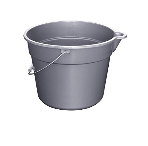 Rubbermaid Commercial 10 Qt BRUTE Heavy-Duty, Corrosive-Resistant, Round Bucket, Gray - Gray Bucket