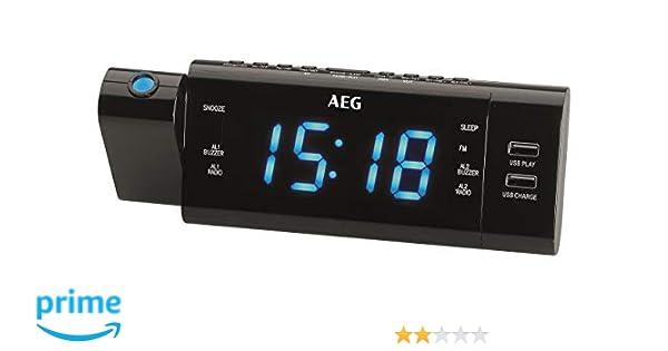 AEG MRC 4159 P - Radio Reloj con proyección, Pantalla LED, 2 ...