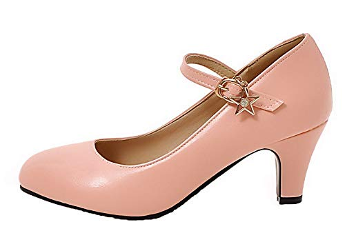 29dbf298fa ... Pumps shoes Kitten heels Women's Solid Pink Buckle Gmdda010296  Microfiber Agoolar qSR0ApYx ...