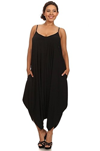 [CANARI Womens Plus Size Spaghetti Strap Loose Fit Harem Jumper Overall Black-2 1X] (Stretch Jumpsuit)