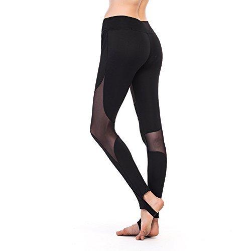 Women\'s Workout Capris Leggings Mesh Pants Ibowo Yoga Tights for Sport Running (M, Black Crisscross Stirrup) (M, Black Crisscross Stirrup)